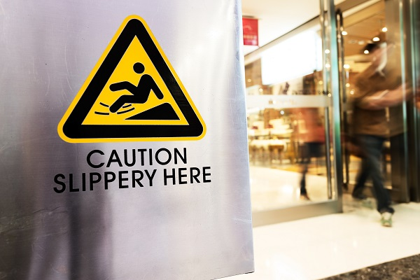 Slippery Floor Caution Sign to Prevent Slip and Falls
